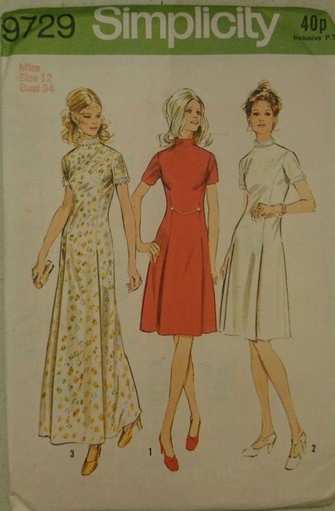 Vintage 1970s Sewing Pattern Simplicity 9729 Misses\' Princess Dress ...