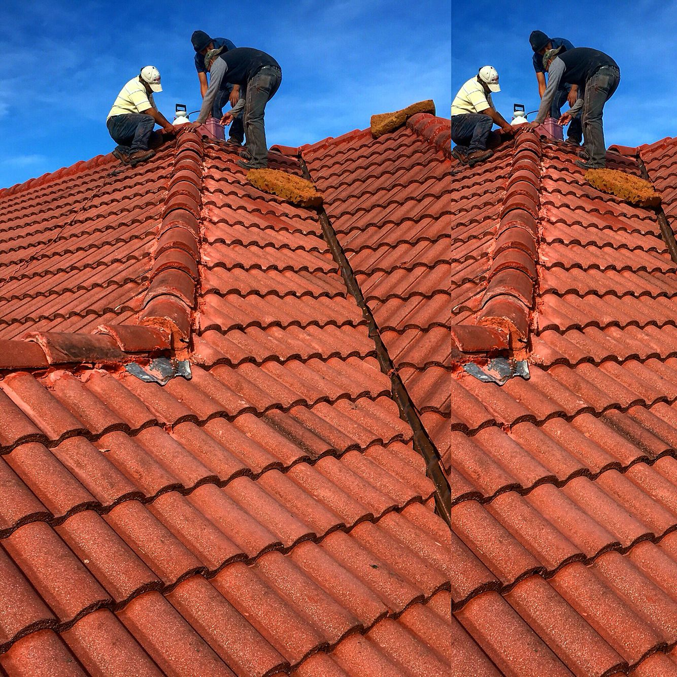 One Of Excel Roofing Companies Crews Working On A Concrete Tile Roof Repair Excelroofingcompany Roof Repair Concrete Tiles Roofing Companies