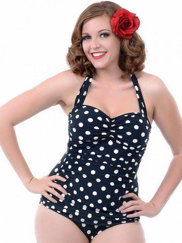 c8bcd2d9a1 Plus Size Women Sexy Polka Dot One Piece Bikini Halter Retro High Waist  Swimsuit