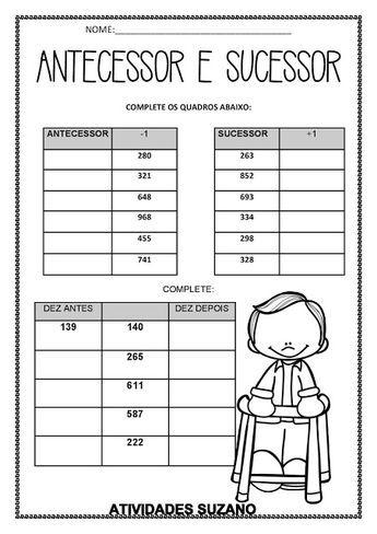 Antecessor E Sucessor Atividades Pedagogica Suzano Antecessor