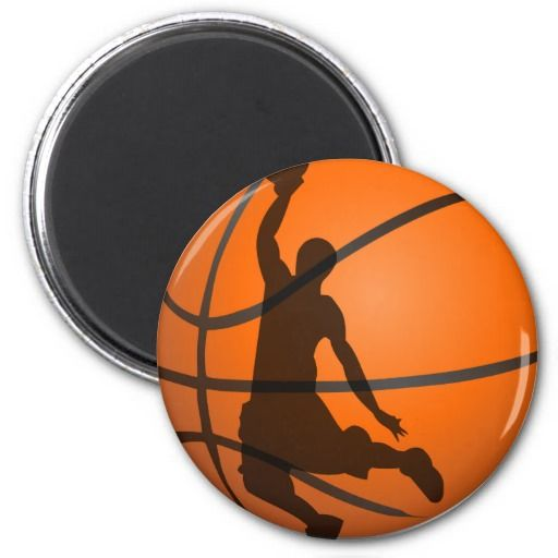 basketball player silhouette pop art 2 inch round magnet