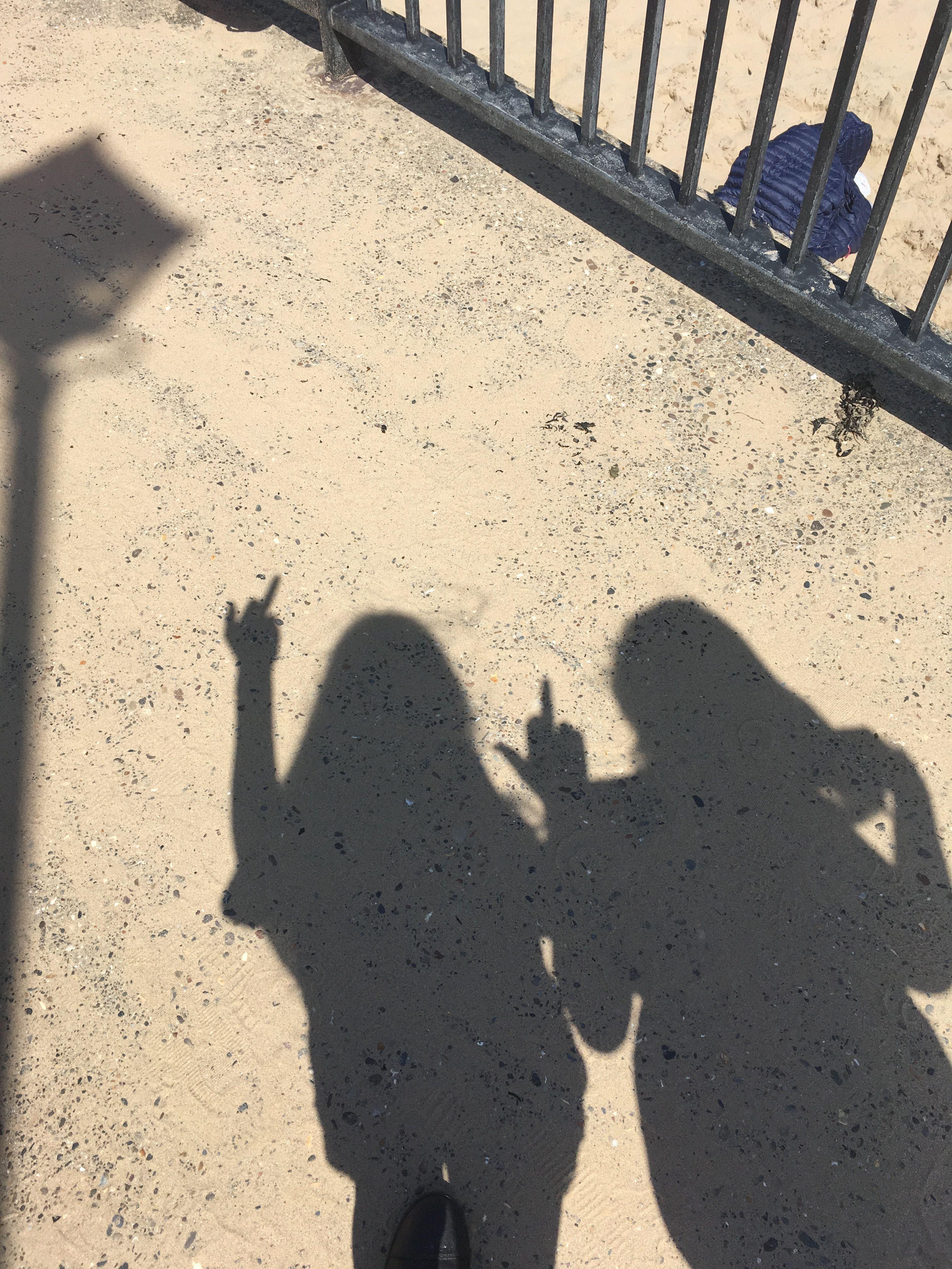 Shadow Shadows Friends Friendship Middlefinger Sand Beach Railing Metal Shadow Pictures Beach Pictures Friends Girl Shadow