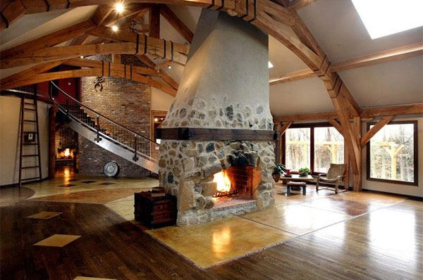 Wonderful Timber-Framed House Interior Designs: Beautiful Large Living Room Classic Fireplace Modern Timber Framed Home