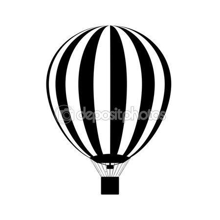 Sicak Hava Balon Gokyuzunde Siluet Vektor Balon Illustrasyon Cizim