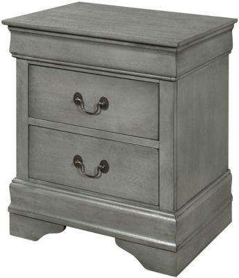 Best Crown Mark Louis Philippe Gray Nightstand In 2020 Gray 640 x 480