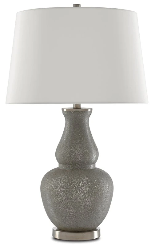 The Courante Table Lamp From Currey And Company Has A Double Gourd Shaped Body Made Of Gray Blown Glass The Buxom Lamp Sits A Table Lamp Lamp Grey Table Lamps