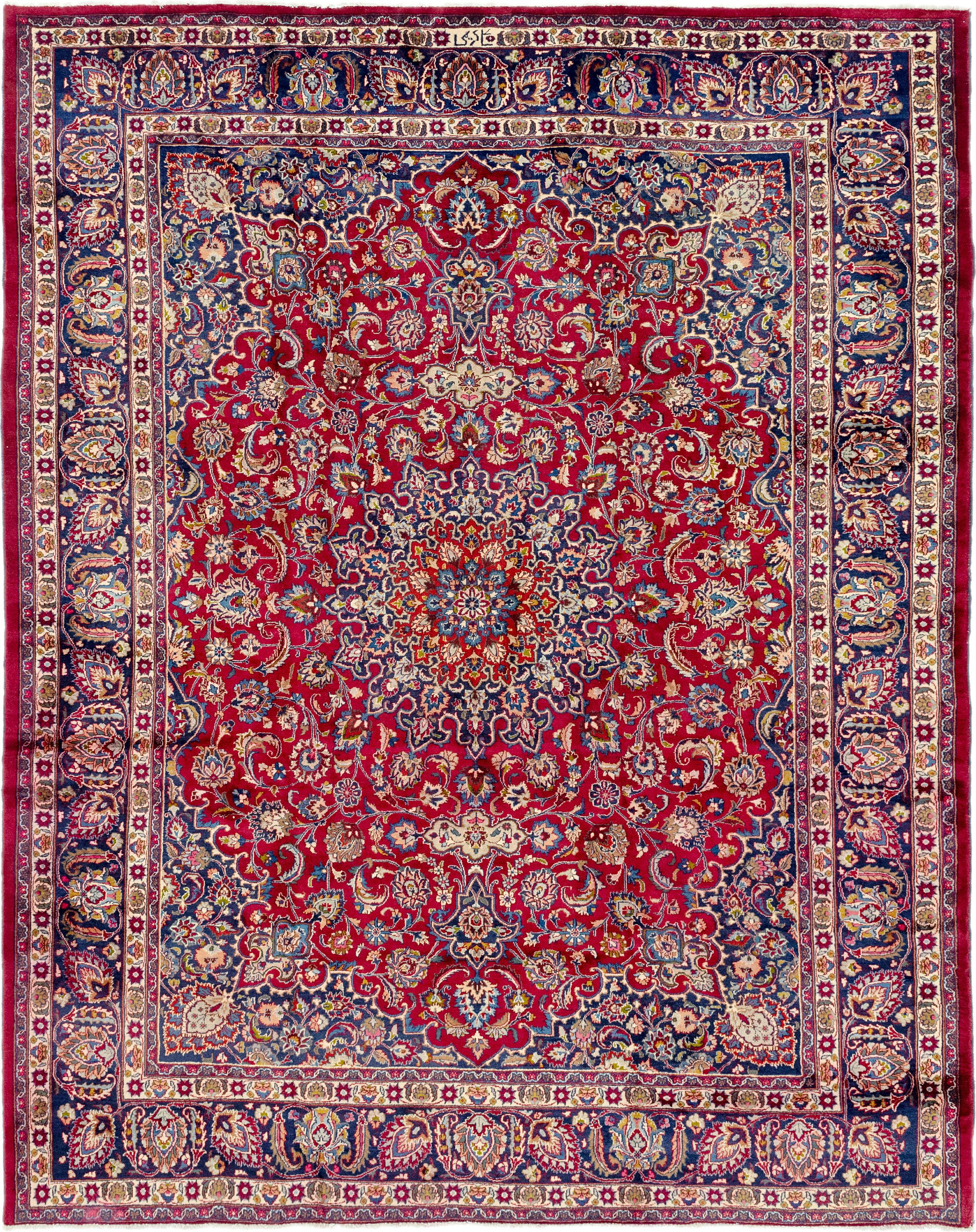 Red 9 10 X 12 8 Mashad Persian Rug Esalerugs With Images