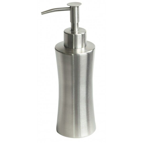 The stainless steel soap dispenser appears in a matt finish. �It is a very practical accessory for the bathroom. �
