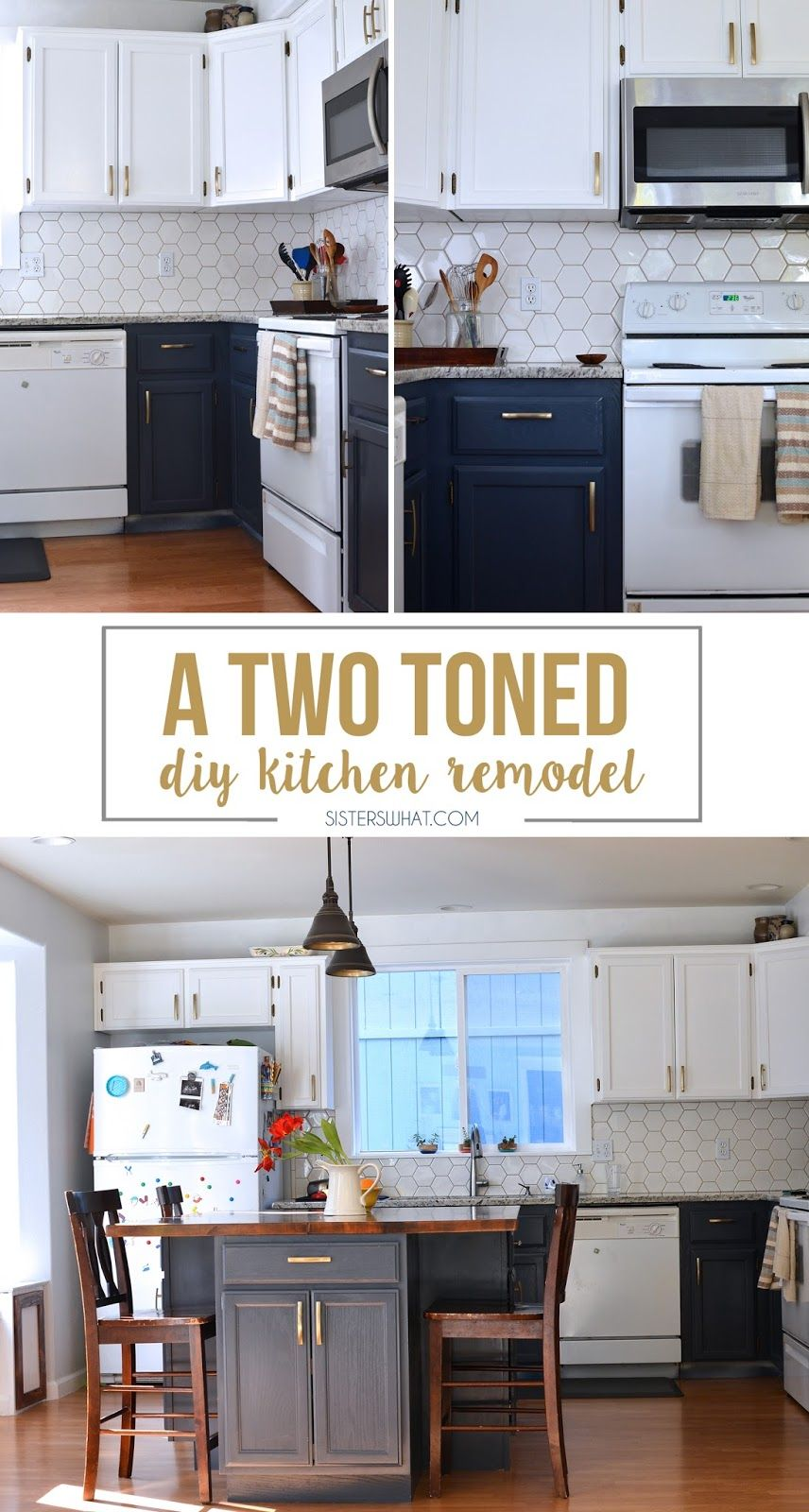A Two Toned Diy Kitchen Remodel with Hexagon Tiles