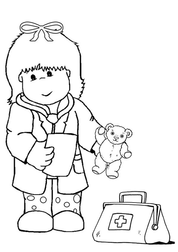 Free Online Kid Doctor Colouring Page Health Coloring Pages