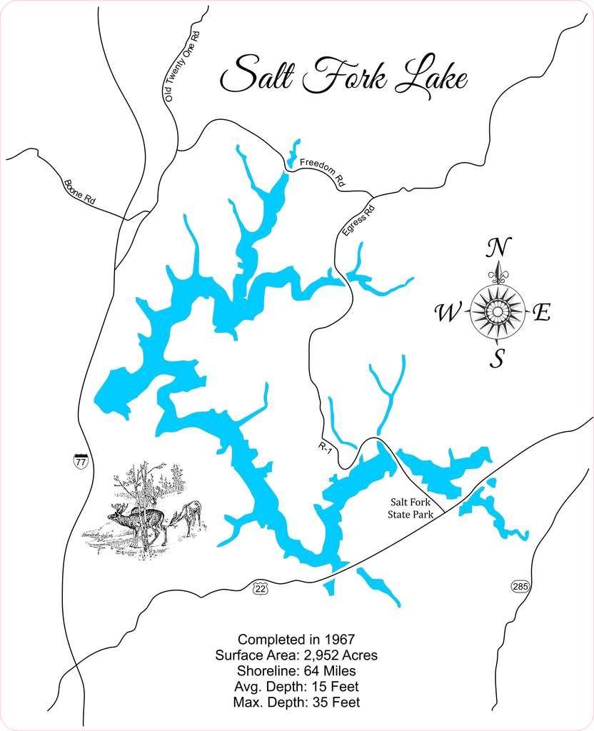Salt Fork Lake Ohio Wood Laser Cut Map