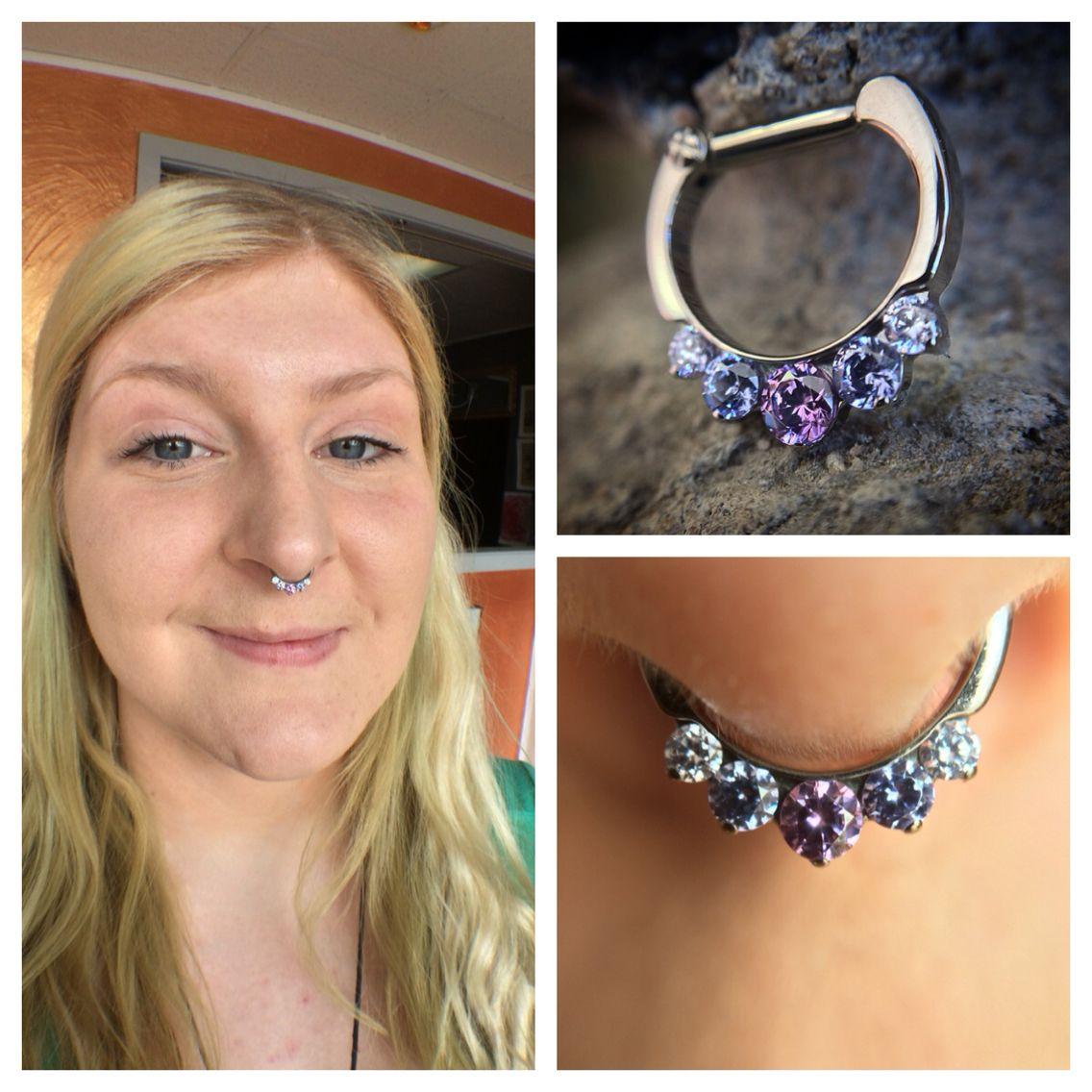 Septum piercing ideas  A gorgeous titanium septum clicker with genuine Swarovski gems from