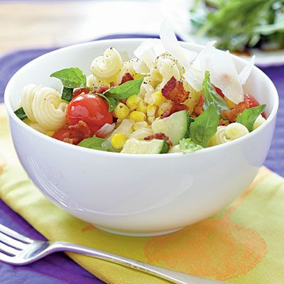 Cavatappi with Bacon and Summer Vegetables - Summer Squash and Zucchini Recipes - Cooking Light