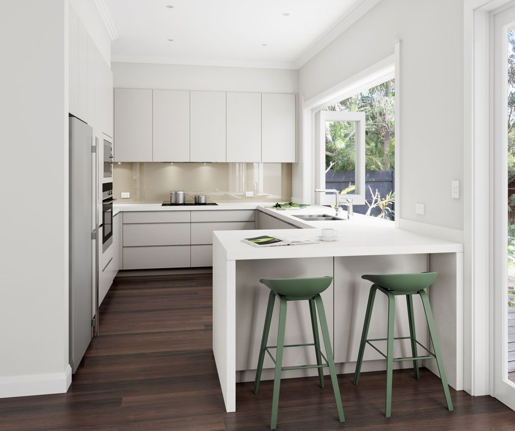 Kitchen Layout Peninsula: U Shaped Design With Small Peninsula. Manly, NSW