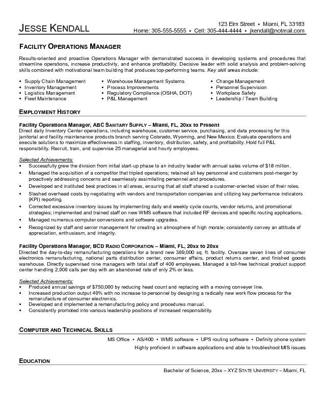 Supply Chain Manager Resume Facility Operations Manager  Building Manager Resume  Interested