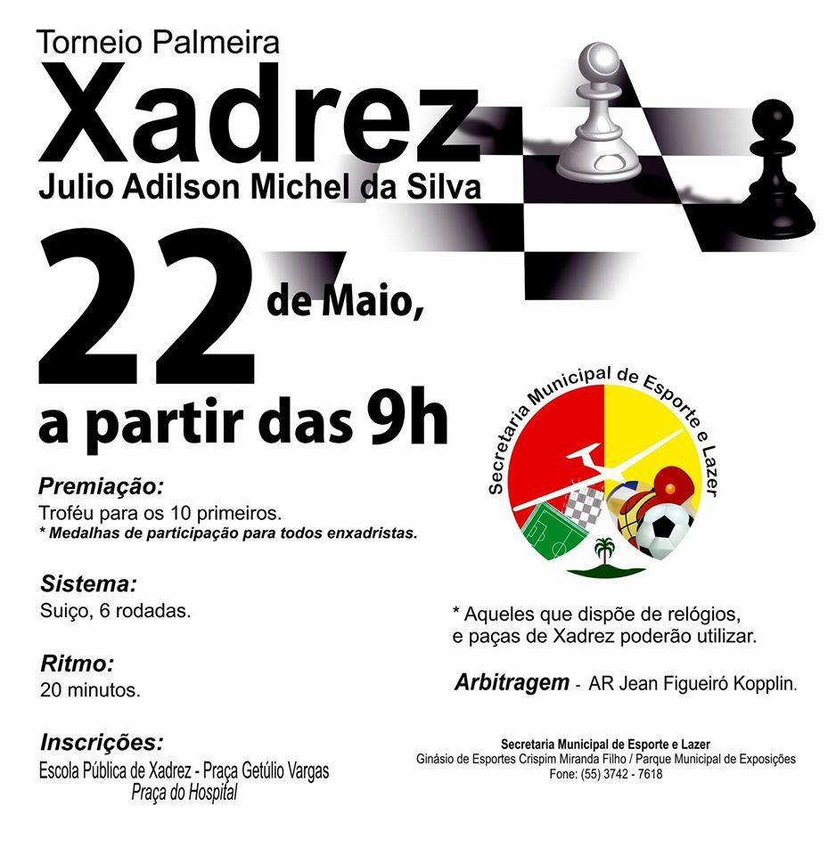 Está marcado para o dia 22 de maio o Torneio Palmeira de Xadrez Julio Adilson Michel da Silva. A competição é voltada aos enxadristas do município e homenageia Julinho Michel, figura importante no xadrez e fundamental na apresentação no Projeto de Ensino de Xadrez - PEX em Palmeira das Missões.