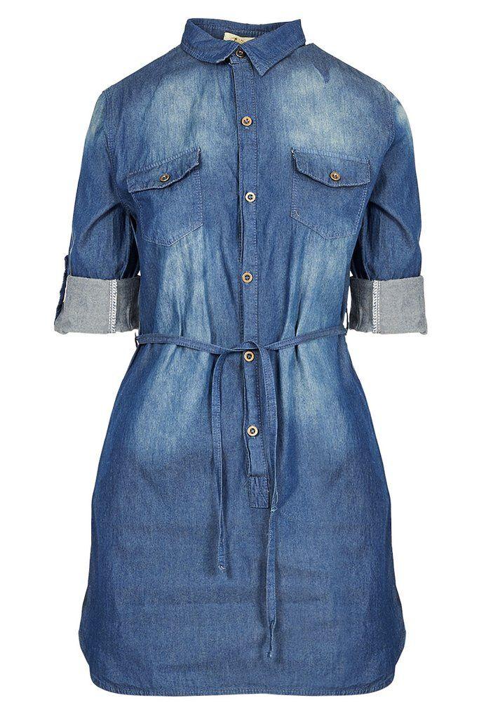 Button-Through Denim Shirt Dress
