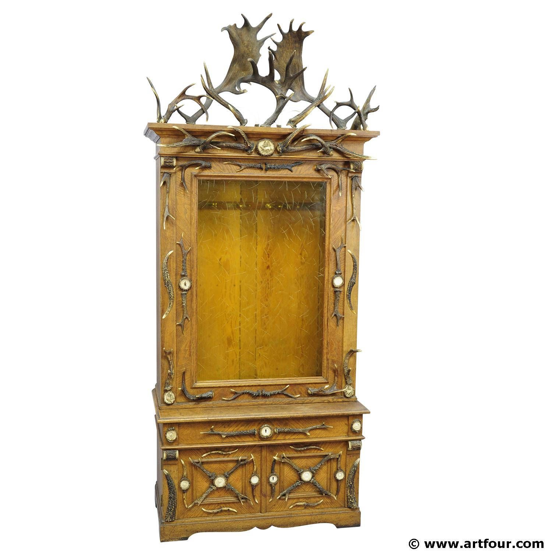 Fantastic oak wood gun cabinet with antler decoration ca 1900