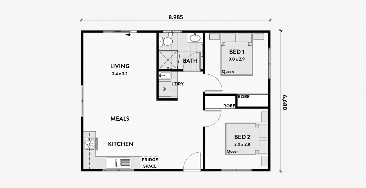 Gerbera 60m2 2 Bedroom Floor Plans Granny Flat Shed To Tiny House
