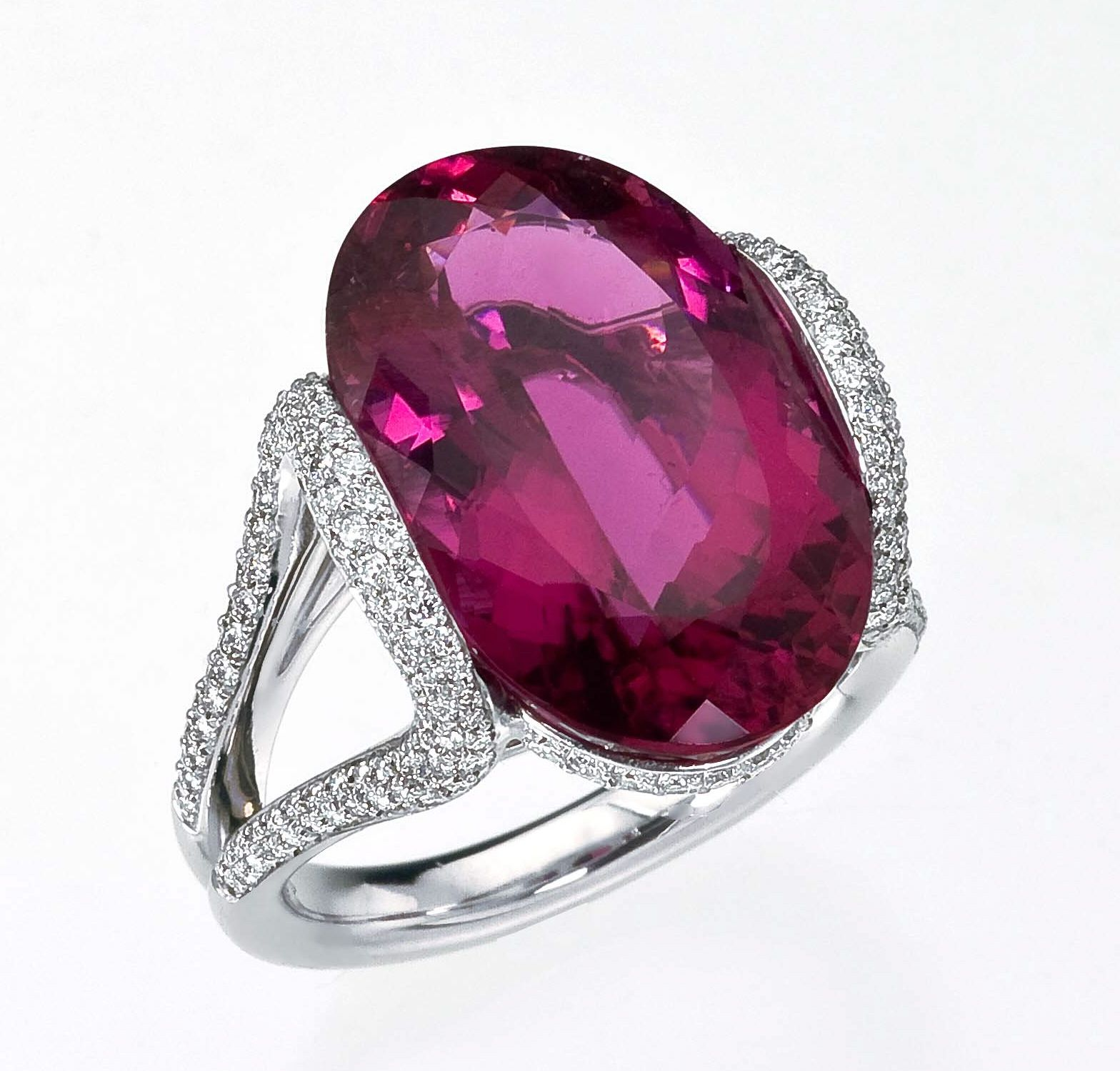 Mark Patterson Rubellite and Diamond Ring.