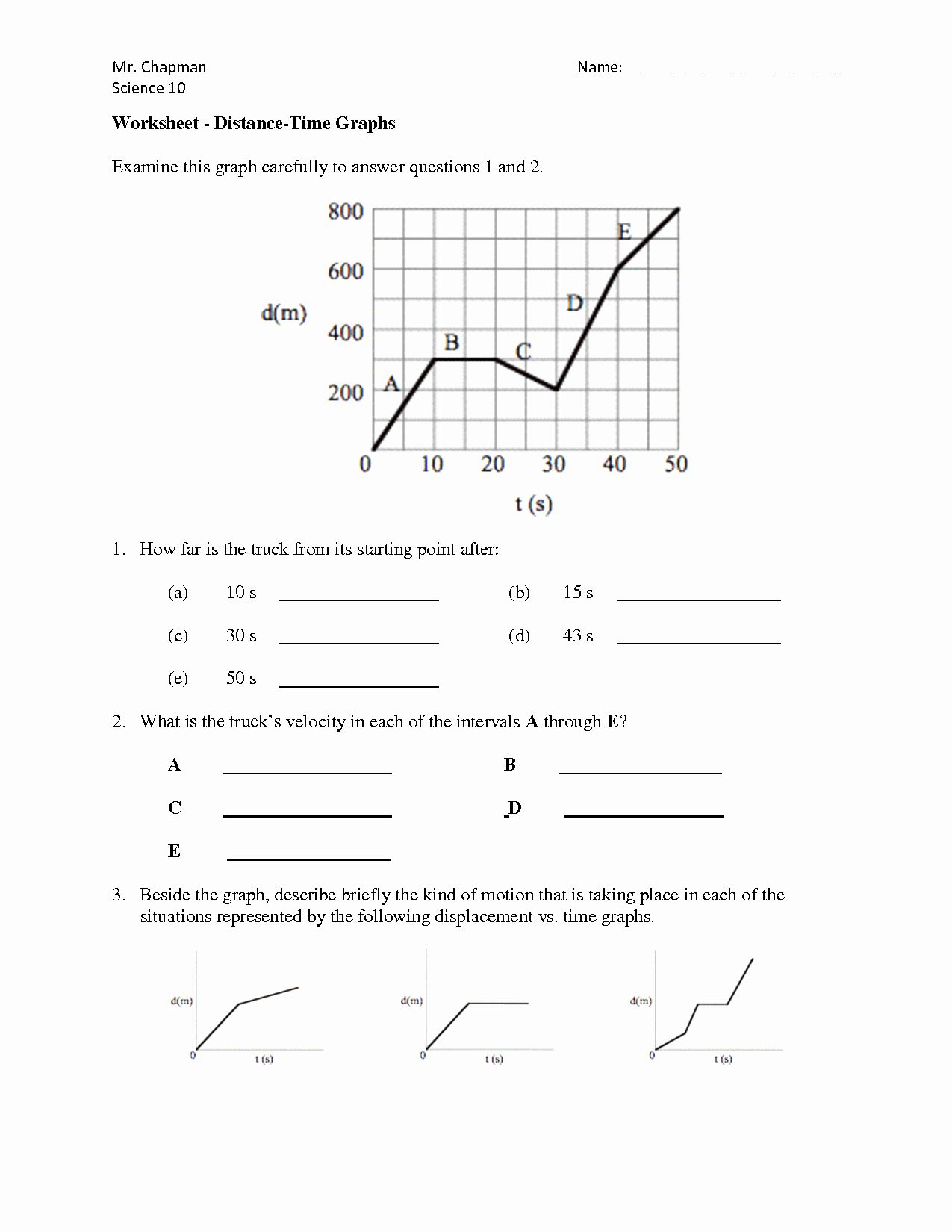 Speed Vs Time Graph Worksheet Unique Distance Speed Time
