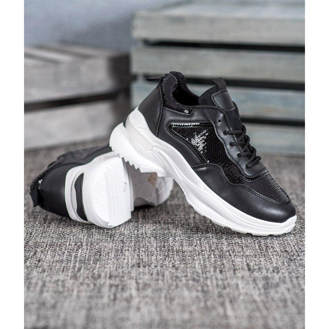 Shelovet Modne Sneakersy Z Cekinami Czarne Air Max Sneakers Nike Air Max Sneakers