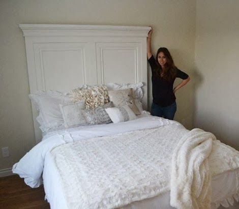 Ana white build a tall panel headboard queen free for Queen headboard ideas