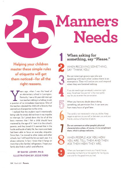 25 Manners Every Kid Needs by Age 9 Manners, Parents and Child - notice of copyright importance