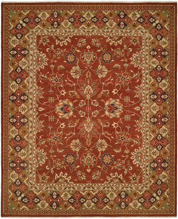 Melbourne 9x12 Hand Knotted Persian Style Wool Area Rug Pattern 281 Rust