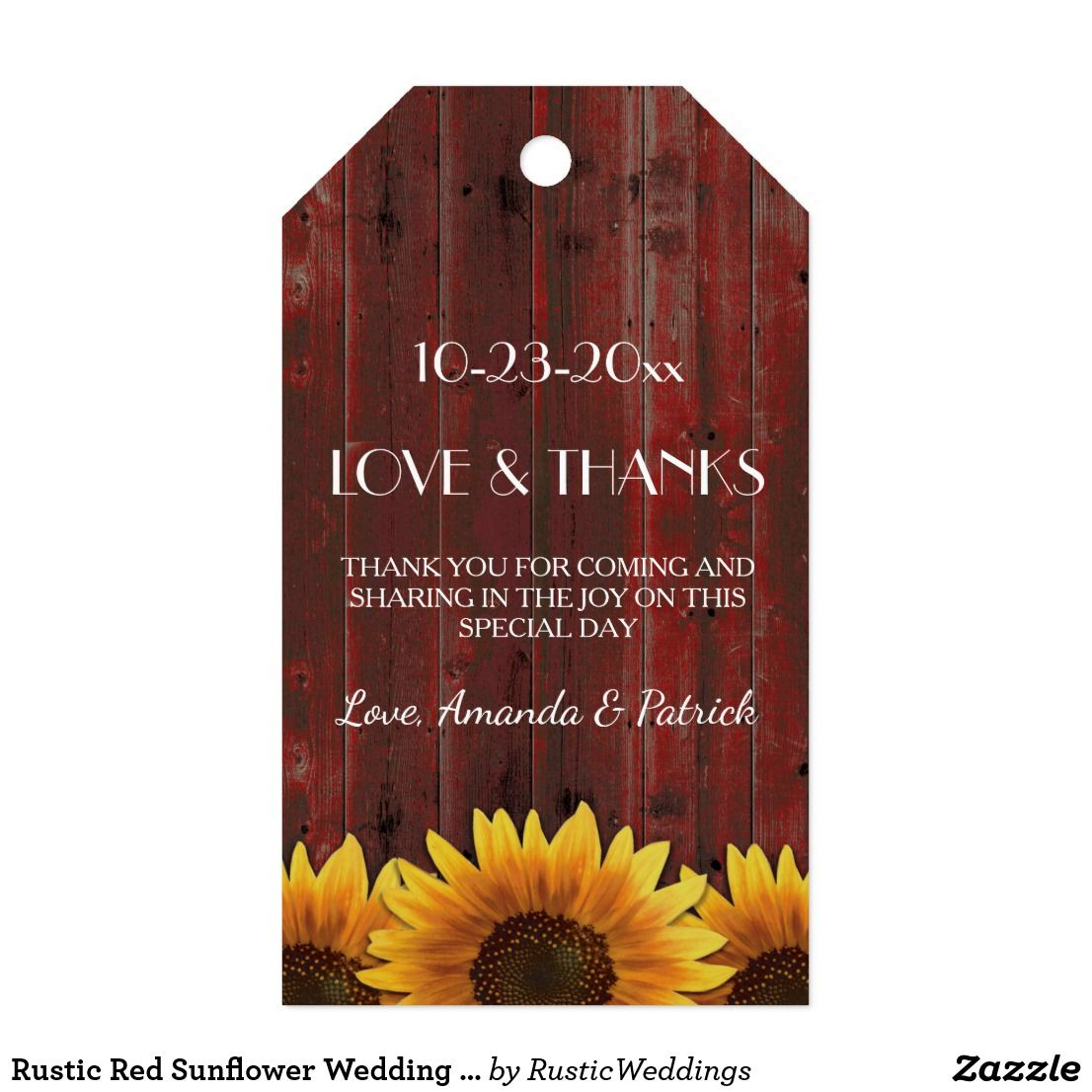 Rustic Red Sunflower Wedding Thank You Tags | { Wedding Invitations ...