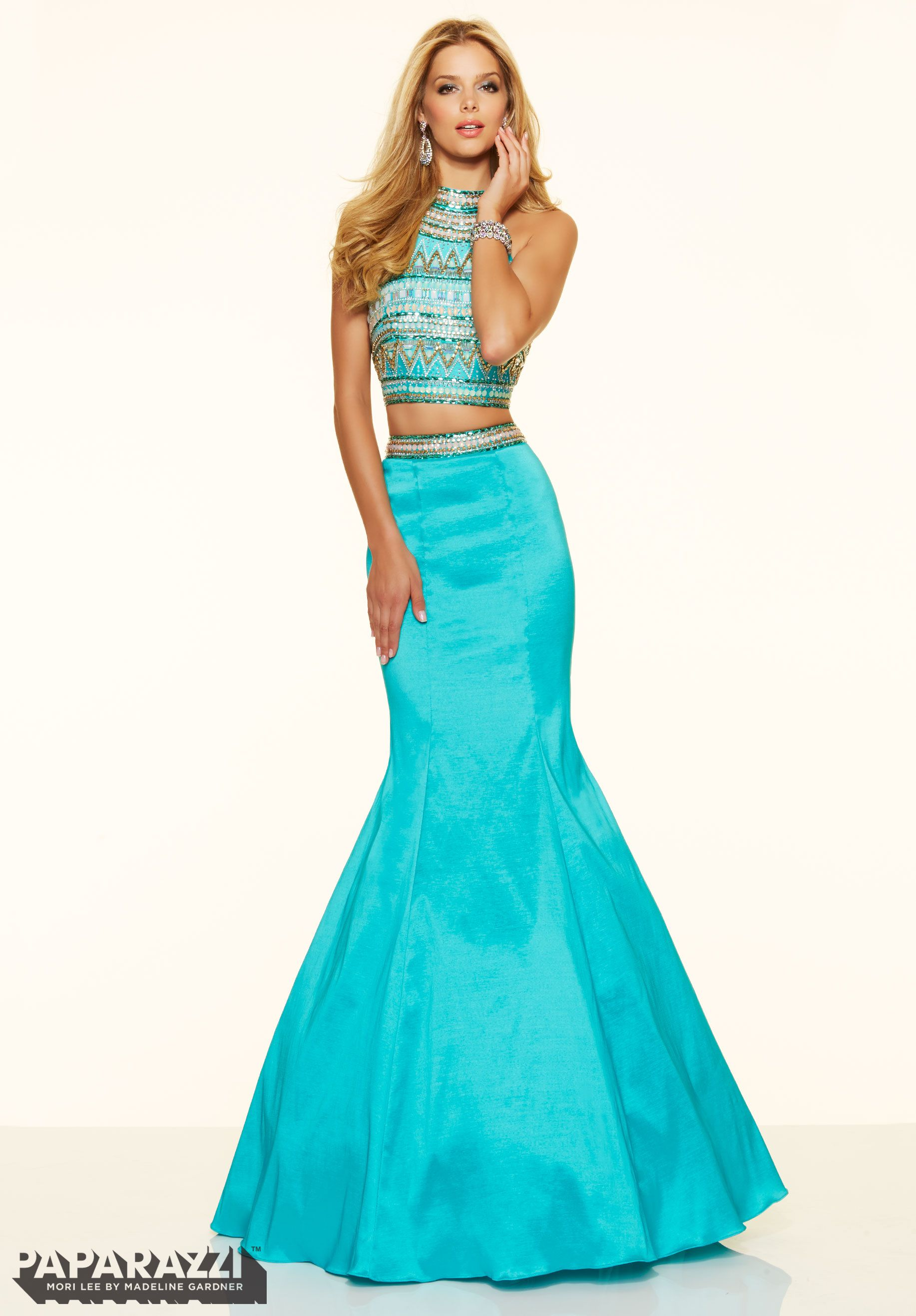 Prom dresses by Paparazzi Prom 2 Piece Beaded Stretch Taffeta Zipper ...