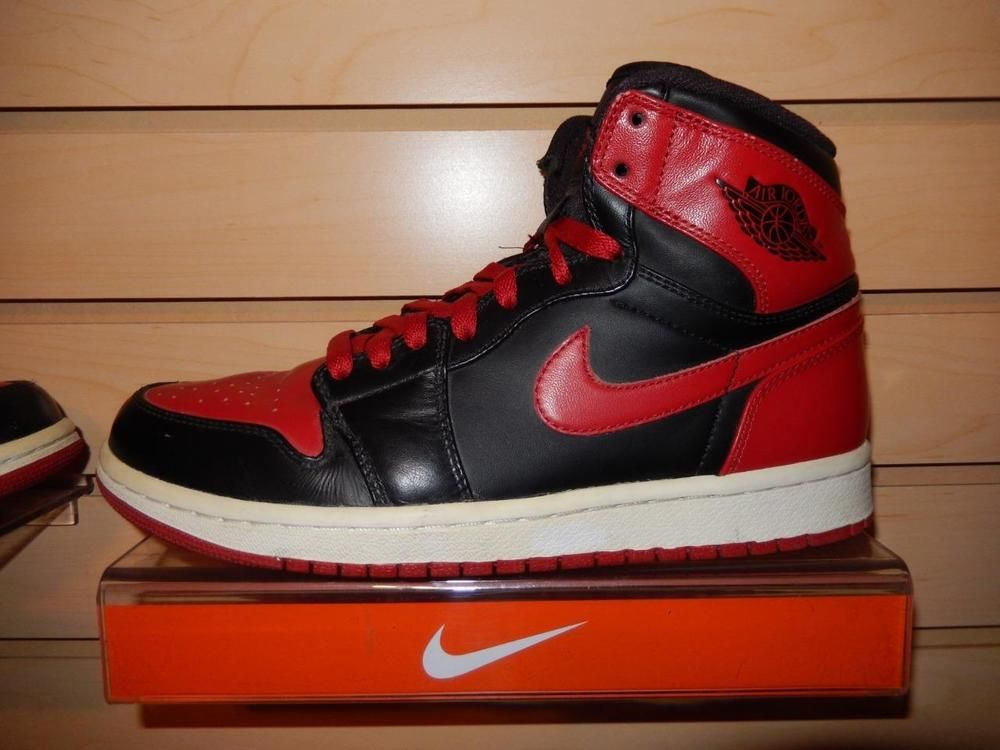 2009 Nike Air Jordan 1 Retro Black/Red DMP 1 Bulls XI 11 Bred 1 size 8 VTG  15 85