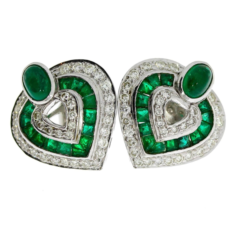 Heart Shaped Emerald Diamond Gold Earrings