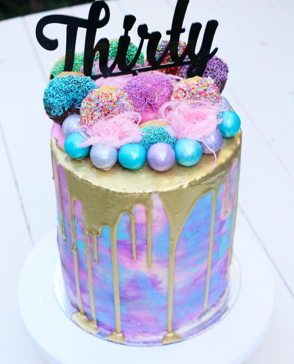 Neon Chocolate Ganache Drip Cake Watercolor Effect Buttercream