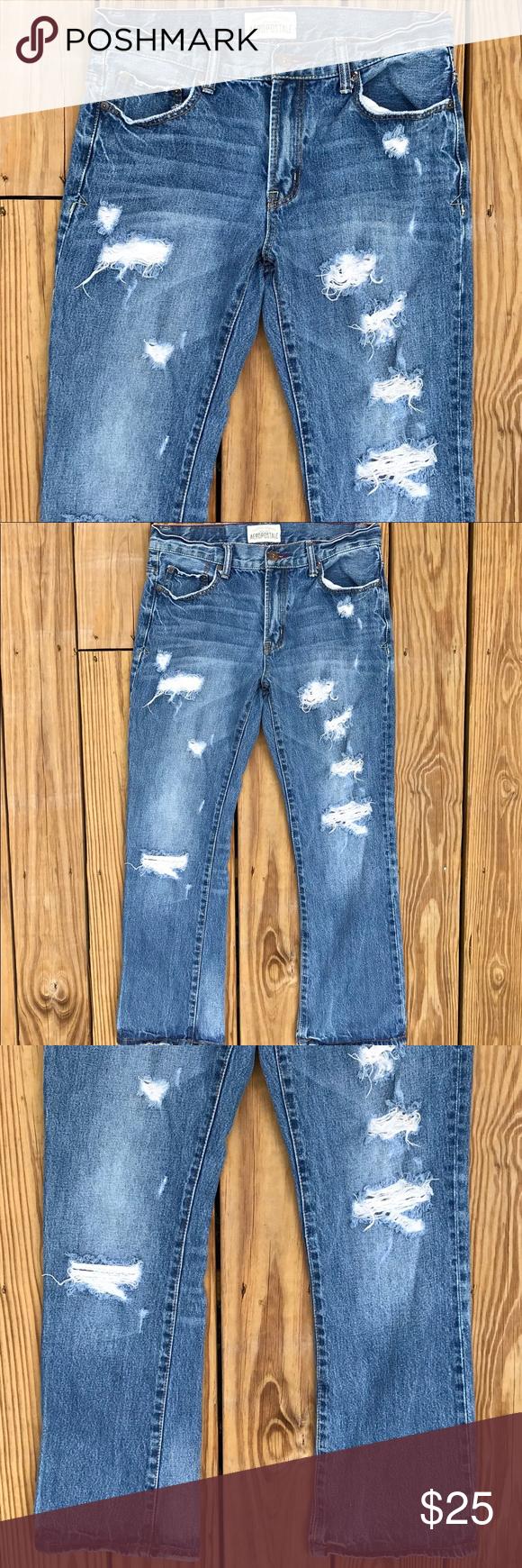 4d2598f6670 Aeropostale Driggs Slim Bootcut Distressed Jeans Description: Mens  Aeropostale Driggs Slim Bootcut Distressed Destroyed Denim