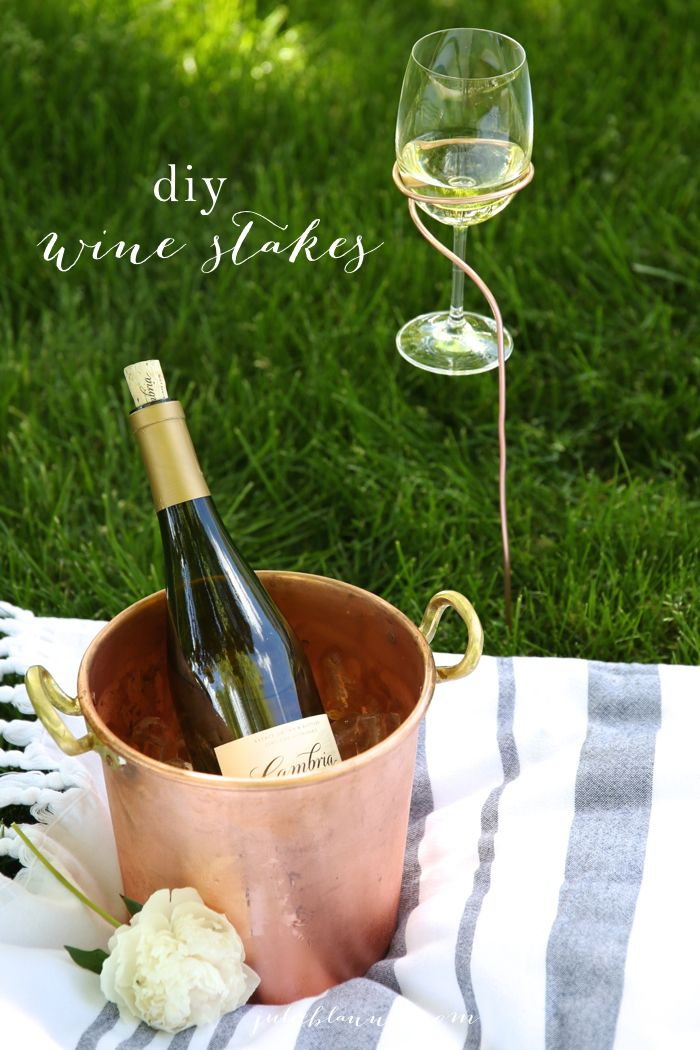 diy wine glass holders copper wine stakes tutorial wine is cheaper than therapy pinterest. Black Bedroom Furniture Sets. Home Design Ideas