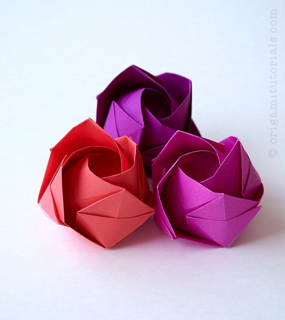 Origami Kawasaki Rose Bud Origami Tutorials Origami Rose Origami Dollar Bill Origami