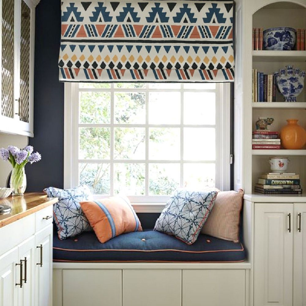 Bay Window Seat For A Lovely Addition: Quick Fix Washable Roman Window Shades Flat Fold, Native