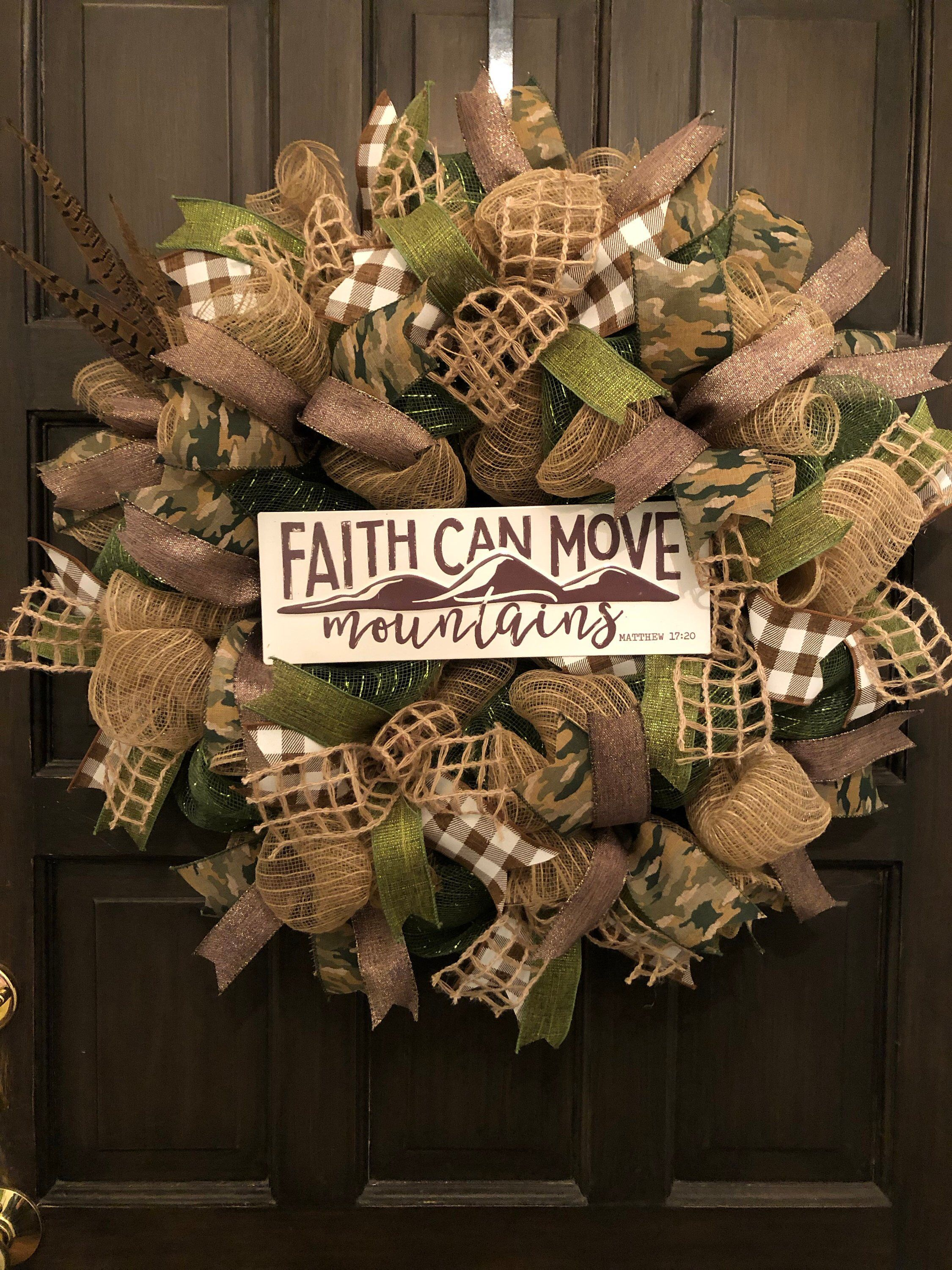 Photo of Faith can move the mountain wreath, the wreath of faith, the burlap wreath, the decorative network wreath, the army wreath, the everyday wreath, the inspiration wreath
