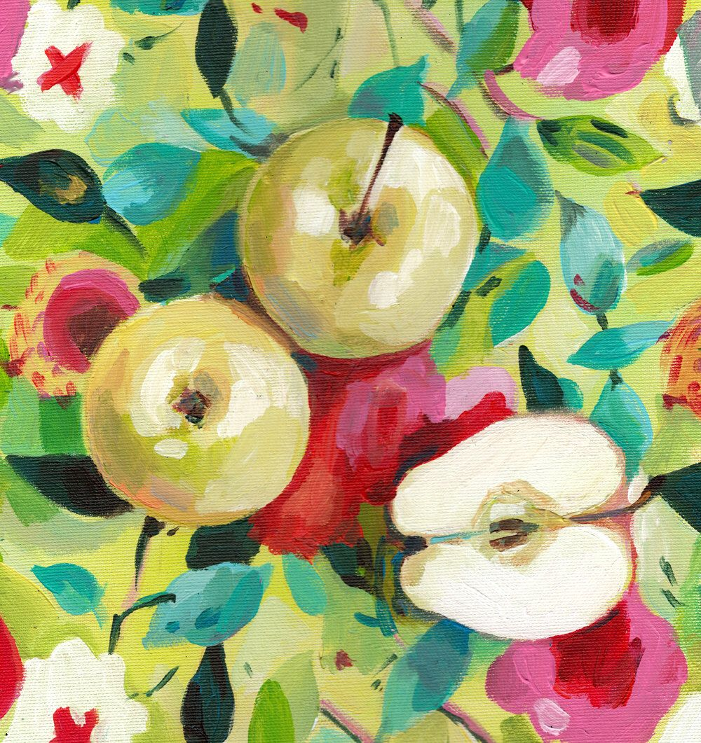 Apples on a floral red pink and green fabric - acrylic ORIGINAL ...
