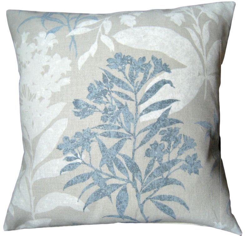 "cushion   Cover laura asHley Hydrangea Duck egg fabric  piped grey   16/"""