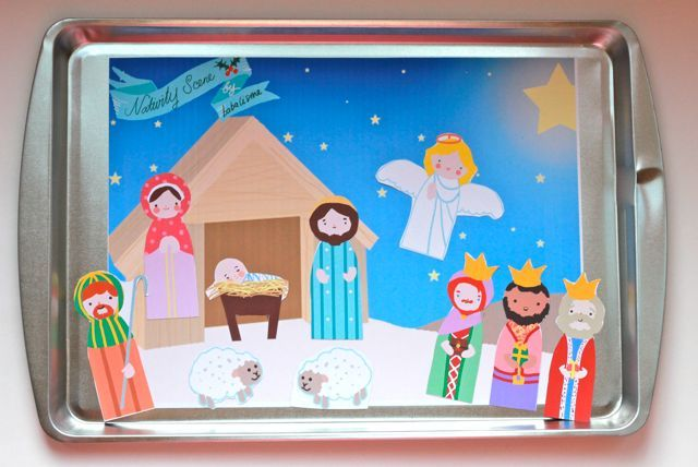 free paper doll printables, nativity, santa, christmas tree with ornaments and more. Make into magnetic story board.