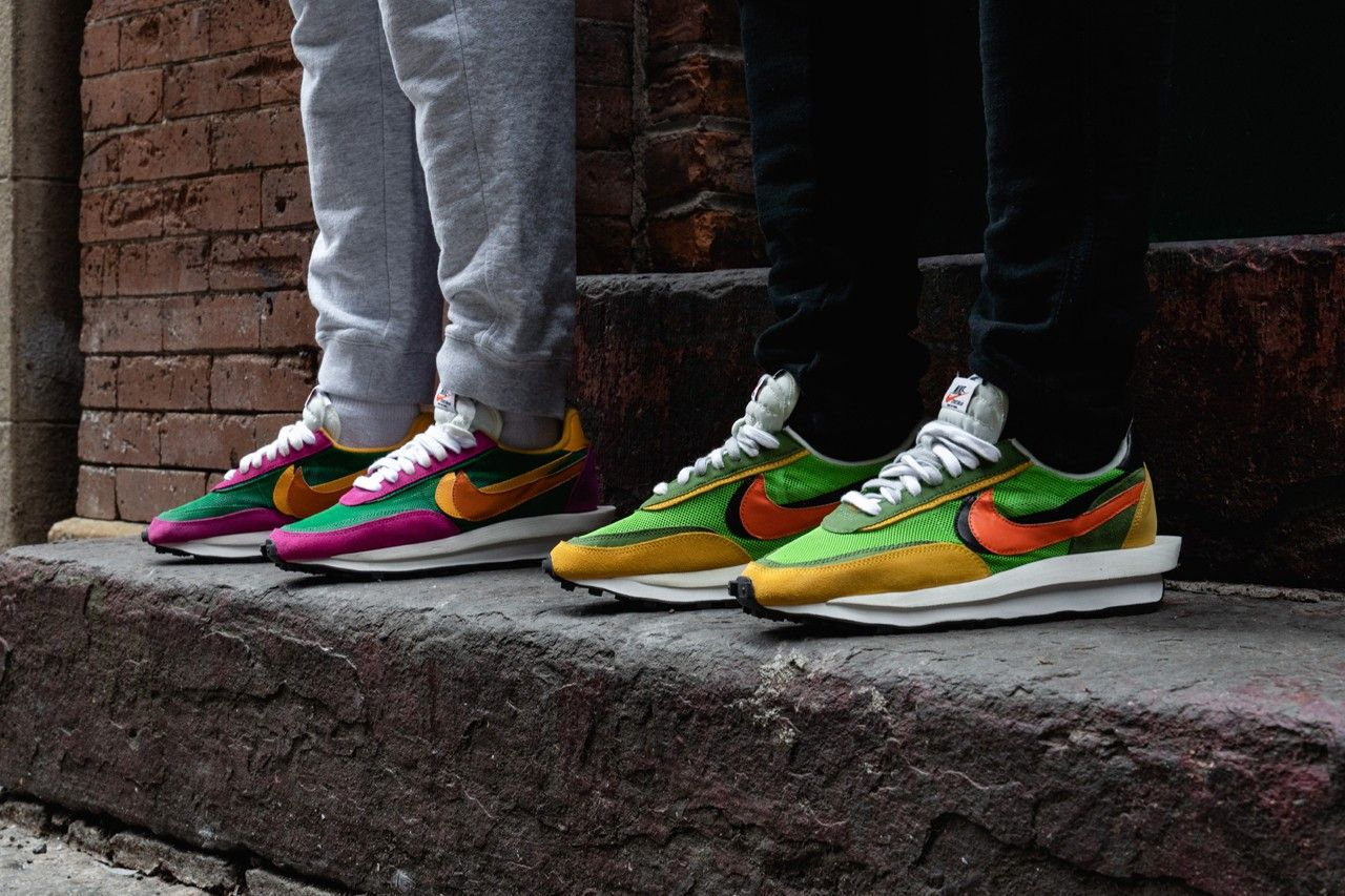 On Feet With The Sacai X Nike Ldwaffle Collection Nike Shoes Outfits Nike Nike Shoes Roshe