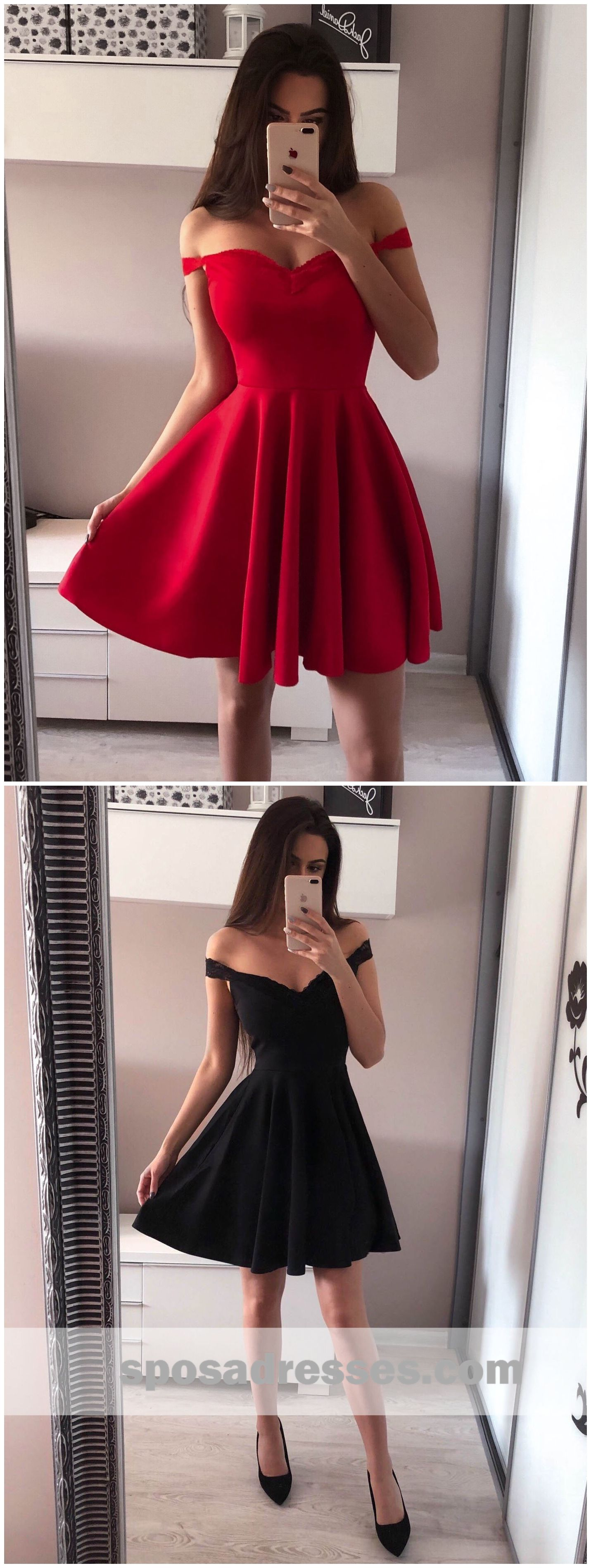 Simple red off shoulder short cheap homecoming dresses online cm