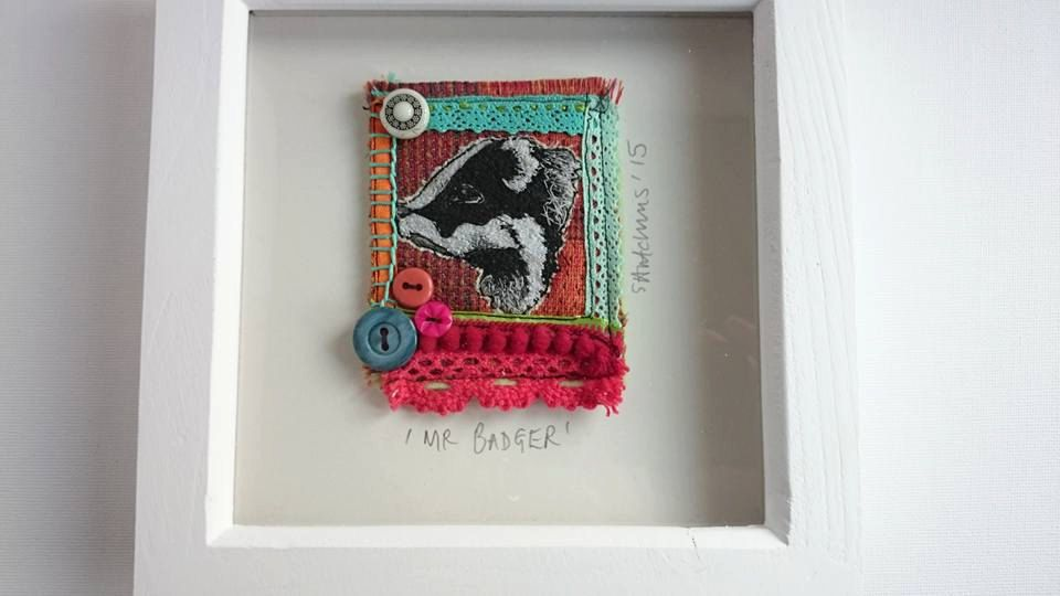 Framed embroidered badger, British wildlife art, British woodland animals, stitched art, badger wall art, badger box frame, buttons, orange, - pinned by pin4etsy.com