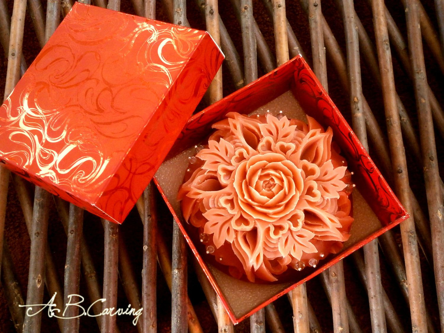 Wedding carving soap hand carved soap flower carving soap