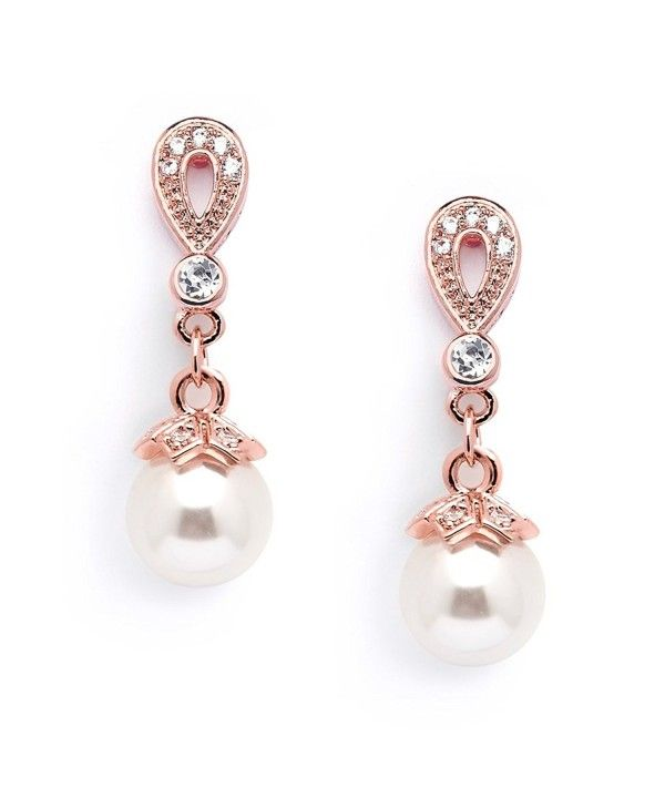 282b484d7d08 14K Rose Gold Plated Vintage Wedding Glass Pearl Drop Clip On Earrings for  Brides with CZ C617Y4U4HW0