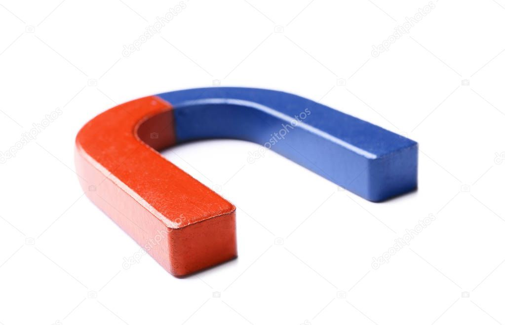 Red and blue horseshoe magnet on white background  Stock Photo