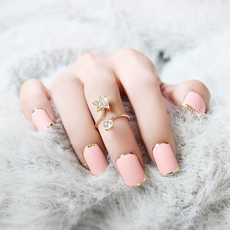 High Quality Hot Sell Metallic False Nails 3 Sets/lot Pink French ...