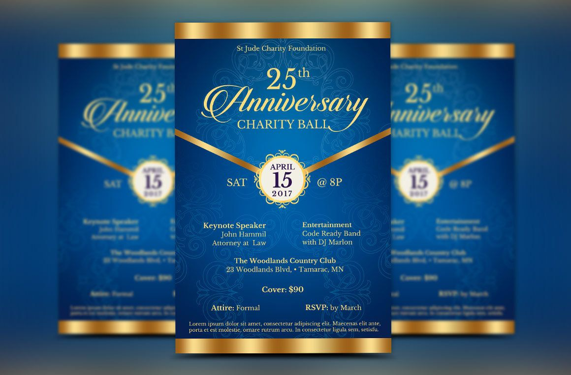 Blue Anniversary Gala Flyer Publisher Template is for any ...
